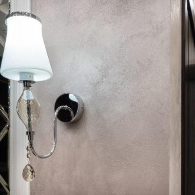 Декоративное покрытие с мелким песком на стене фото