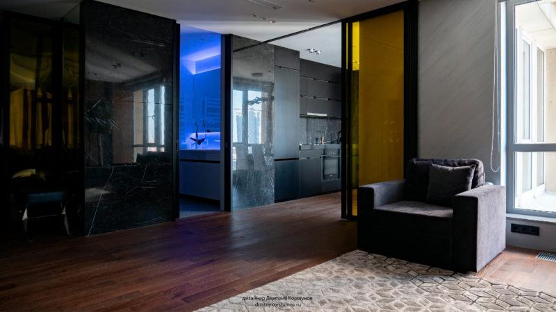 Декоративная штукатурка под металл в интерьере гостиной фото