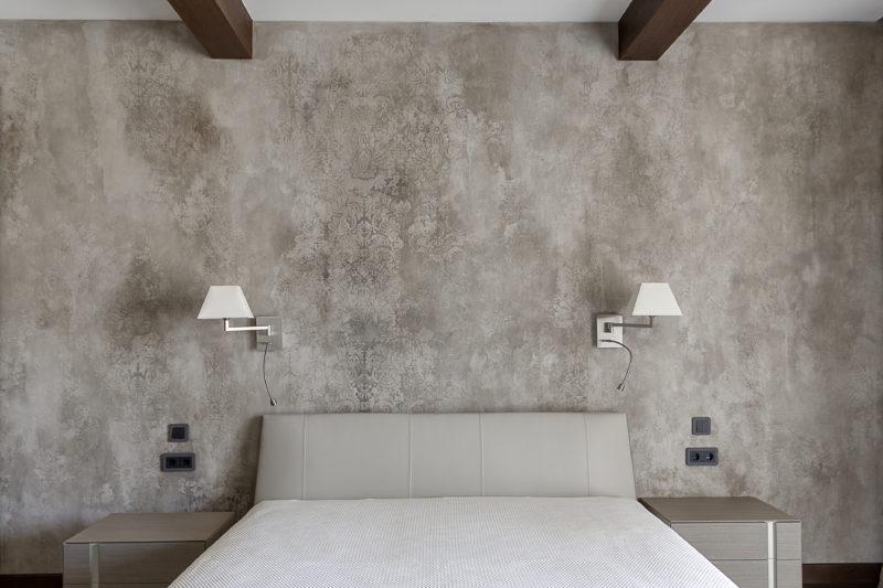 Дизайн спальни штукатурка фото