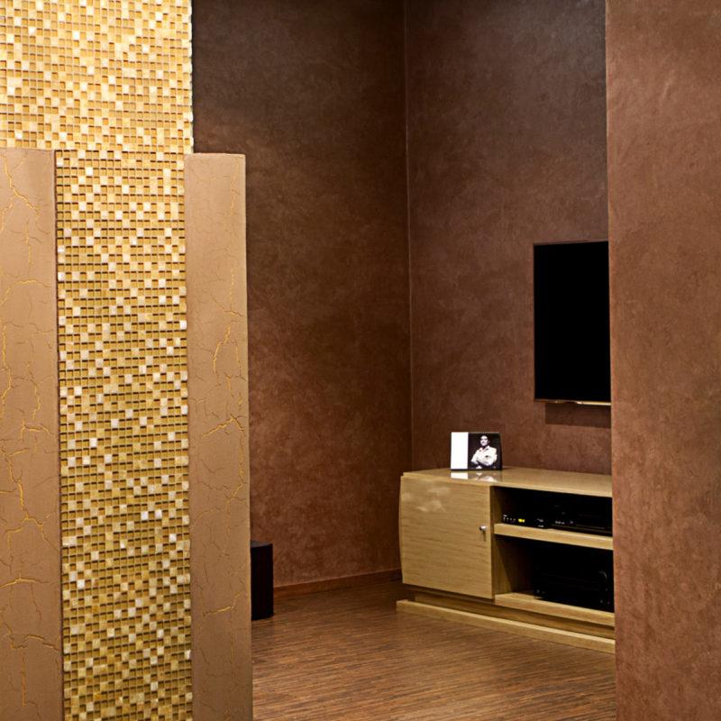Декоративное покрытие под бархат в интерьере гостиной комнаты