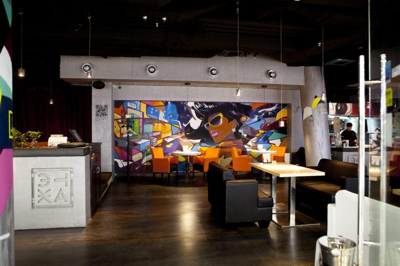Современная роспись стен в кафе фото