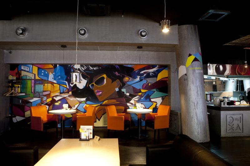 Штукатурка под бетон в интерьере современного ресторана