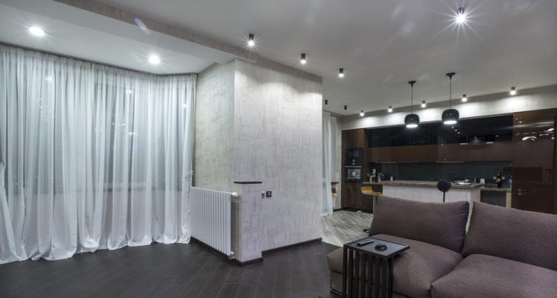 Краска АРТ бетон в гостиной фото интерьера