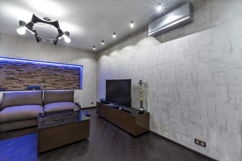 АРТ бетон в интерьере комнаты в квартире